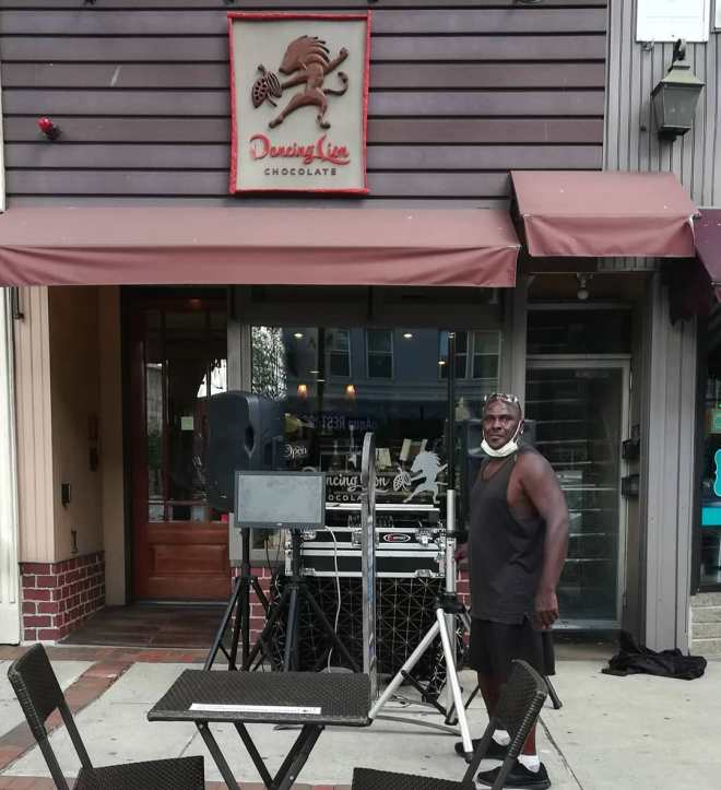 Musician & DJ D Heywood seeing up for our Juneteenth Music Saturday.Outdoor seating, ice cream, and we're open until 7pm.#chocolatier #music #juneteenth #manchesternh