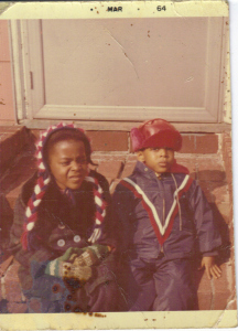 Me and Stephen March 1964. Dig my crazy pigtail hat!! LOL!!