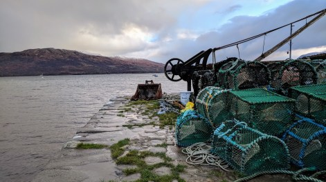 Fishing traps on a dock near my hotel on the Isle of Skye