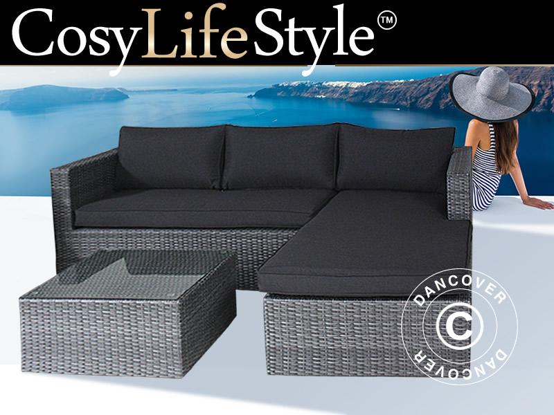 Poly rattan lounge set