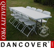 Party package, 1 folding table (242 cm) + 8 chairs, Light grey/White