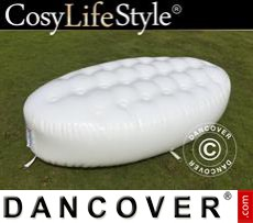 Inflatable bench, Chesterfield style, 1x1.95x0.45 m, White