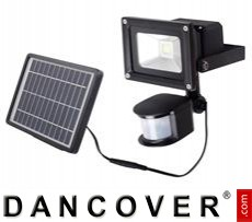 Floodlight, LED, w/solar cell panel, sensor and battery