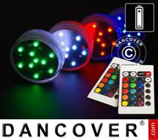 LED light base (4 pcs.), DIA 7cm, multicoloured
