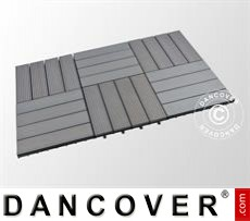 Decking tiles WPC, 0.3x0.3m, Dark Grey (6pcs/box)