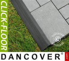 Decking tiles, Edge Piece, Click-Floor, 4pcs, 30 cm, Grey