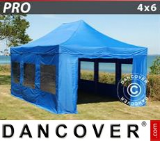 Party Marquee PRO 4x6 m Blue, incl. 8 sidewalls