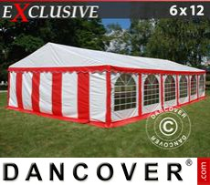 Party Marquee Exclusive 6x12 m PVC, Red/white