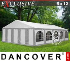 Party Marquee Exclusive 5x12 m PVC, Grey/White