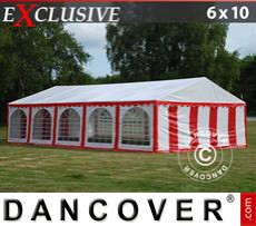 Party Marquee Exclusive 6x10 m PVC, Red/White
