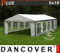 Party Marquee PLUS 5x10 m PE, Grey/White