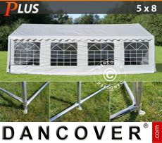 Party Marquee PLUS 5x8 m PE, White + Ground bar