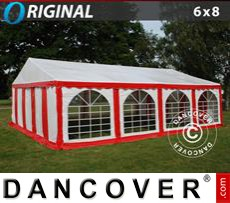 Party Marquee Original 6x8 m PVC, Red/White