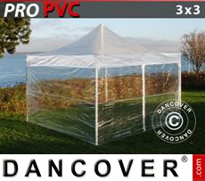 Pop Up Marquee PRO 3x3 m Clear, incl. 4 sidewalls