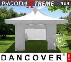 Pop Up Marquee Pagoda Xtreme 4x4 m / (5x5 m) White, incl. 4 sidewalls