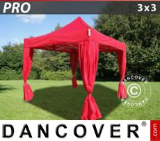 Pop Up Marquee PRO 3x3 m Red, incl. 4 decorative curtains