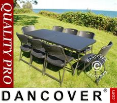 Party package, 1 folding table rattan-look (182cm) + 8 chairs rattan-look,...