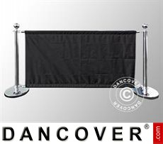 Event Furniture Barrier system, Café Set, Silver w/Black Banner
