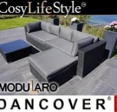 Garden Furniture Lounge Set III, 4 modules, Modularo, Black