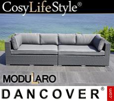 Garden Furniture Lounge Sofa, 2 modules, Modularo, Grey