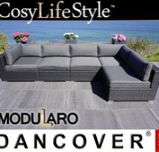 Garden Furniture Lounge Sofa I, 5 modules, Modularo, Black
