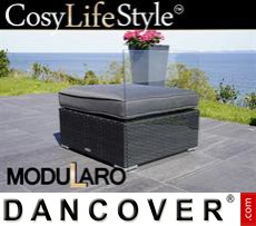 Garden Furniture Modularo w/glass top and cushion, Black