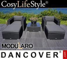 Garden Furniture Lounge Set, 5 modules, Modularo, Black