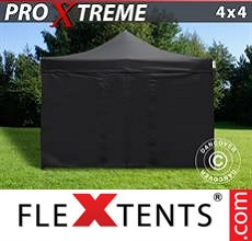 Pop up canopy Xtreme 4x4 m Black, incl. 4 sidewalls