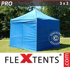Pop up canopy PRO 3x3 m Blue, incl. 4 sidewalls