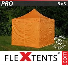 Pop up canopy PRO 3x3 m Orange, incl. 4 sidewalls