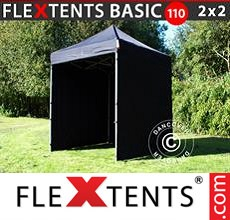 Pop up canopy Basic 110, 2x2 m Black, incl. 4 sidewalls