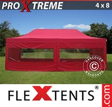 Pop up canopy Xtreme 4x8 m Red, incl. 6 sidewalls