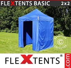 Pop up canopy Basic, 2x2 m Blue, incl. 4 sidewalls