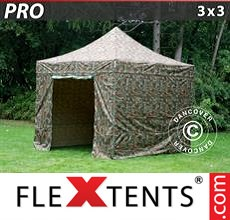 Pop up canopy PRO 3x3 m Camouflage/Military, incl. 4 sidewalls