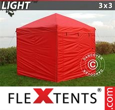 Pop up canopy Light 3x3 m Red, incl. 4 sidewalls