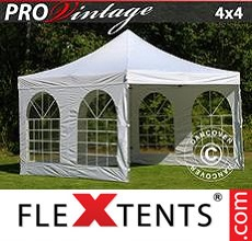 Pop up canopy PRO Vintage Style 4x4 m White, incl. 4 sidewalls