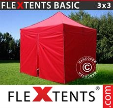 Pop up canopy Basic, 3x3 m Red, incl. 4 sidewalls