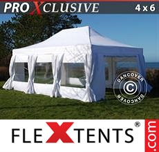 Pop up canopy PRO 4x6 m White, incl. 8 sidewalls & decorative...