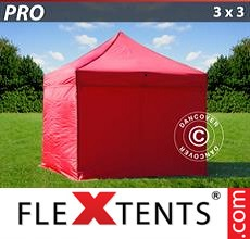 Pop up canopy PRO 3x3 m Red, incl. 4 sidewalls
