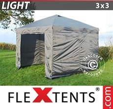 Pop up canopy Light 3x3 m Grey, incl. 4 sidewalls
