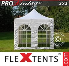 Pop up canopy PRO Vintage Style 3x3 m White, incl. 4 sidewalls