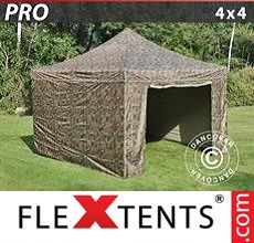 Pop up canopy PRO 4x4 m Camouflage/Military, incl. 4 sidewalls