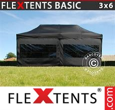 Pop up canopy Basic, 3x6 m Black, incl. 6 sidewalls