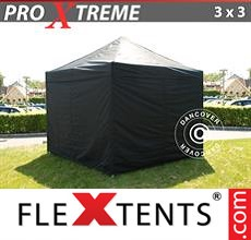 Pop up canopy Xtreme 3x3 m Black, incl. 4 sidewalls
