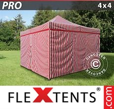 Pop up canopy PRO 4x4 m striped, incl. 4 sidewalls