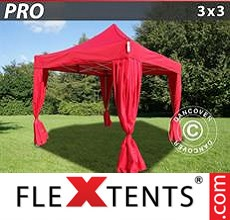 Pop up canopy PRO 3x3 m Red, incl. 4 decorative curtains