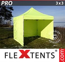 Pop up canopy PRO 3x3 m Neon yellow/green, incl. 4 sidewalls
