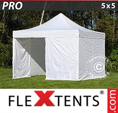 Pop up canopy PRO 5x5 m White, incl. 4 sidewalls
