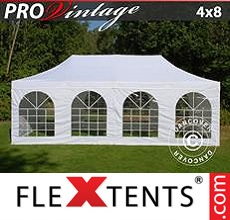Pop up canopy PRO Vintage Style 4x8 m White, incl. 6 sidewalls
