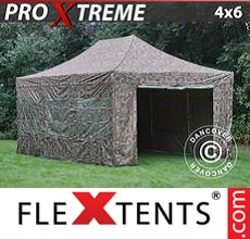 Pop up canopy Xtreme 4x6 m Camouflage/Military, incl. 8 sidewalls